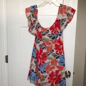 Tropical floral one shoulder off shoulder dress